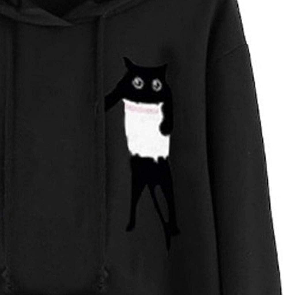 Xmiral Hoodie Pullover Damen Cat Drucken Kapuzenpullover Sweatshirt Casual Langarm Top Y Schwarz