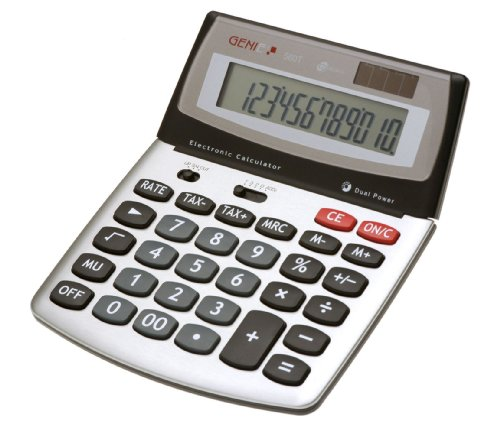 Genie 560 T 12-stelliger Design-Tischrechner (Dual-Power (Solar und Batterie), Jumbo-Display) silber / grau