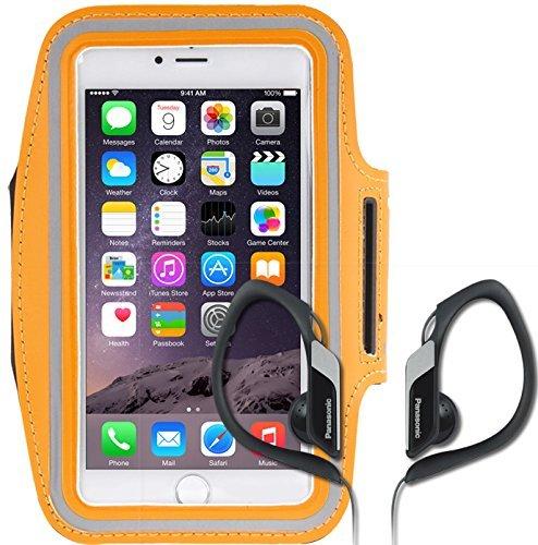 Schutzhülle Sport Armband für Samsung Galaxy S6 Edge + Plus G928F Farbe Orange + PANASONIC STEREO Kopfhörer Ideal für das Laufen im Fitnessstudio, das Fahrrad.