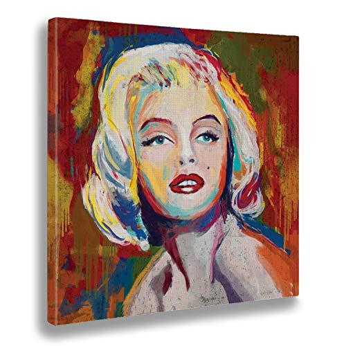 Giallobus - Bild bereits gerahmt - Druck auf Leinwand - Marilyn Monroe - Moderne Bilder für Heimtextilien Haus Design - Schlafzimmer - Verschiedene XXL-Formate - 100 x 100 cm
