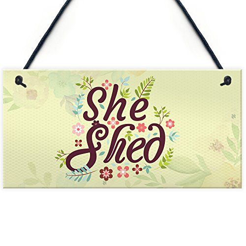 RED OCEAN She Shed Garden Sign Gift For Her Woman Cave Mum Sister Friendship Home Plaque