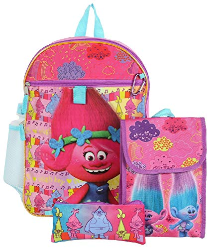 Dreamworks Girls' Trolls 5 Pc Backpack Set, Pink, One Size
