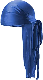 Silky Durag for Men Women Long-Tail Wave Cap Durags Headwraps with Wide Straps