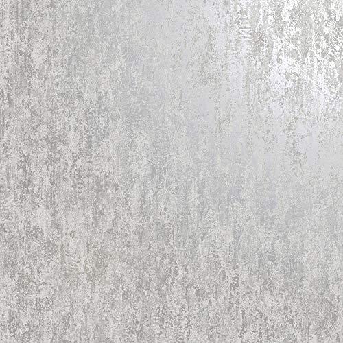 Industrial Textured Metallic Wallpaper Grey Silver Stone...