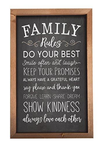 P. Graham Dunn Family Rules Chalkboard Look 17.25 x 11.25 Wood Farmhouse Frame Wall Plaque