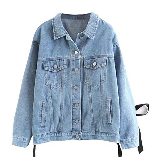 DICZYFW Frauen Zurück Jeansjacke Lace Herbst Casual Oversize Coat Allgleiches Jeansjacke