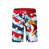 LuckyGirls Shorts d'homme Maillots de Bain Rapide Plage à Sec Surf Natation Courir Watershort(Rouge,Large)