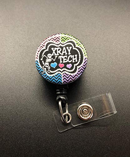Xray Tech Retractable Badge Reel, Skeleton, Hearts, Badge Holder