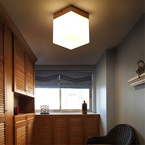 DengWu plafondlampen, houten plafondlampen, deuropener, make-upspiegellamp, Nordic creatieve loop, terras, houtverlichting, 12 x 12 cm