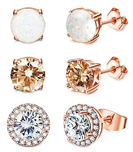 Jstyle Stud Earrings for Women 18K White Gold Rose Plated CZ Halo Earrings Created Opal Earrings Set for Sensitive Ears with Gift Box