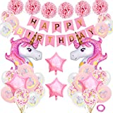 SPECOOL Unicornio Decoración de cumpleaños para niña, Rosa Feliz cumpleaños...