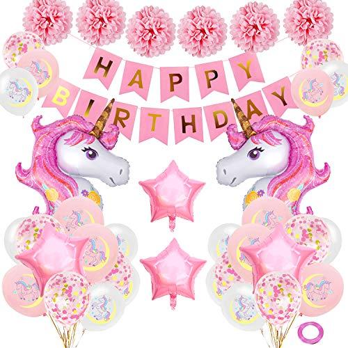 SPECOOL Decorazioni per Feste di Unicorno, Rosa Buon Compleanno Banner con 2 Enormi Palloncino di Unicorn Coriandoli in Lattice Forniture per Feste di Compleanno per Bambini Adolescente