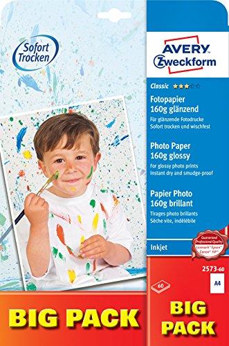 AVERY Zweckform 2573-60 Classic Inkjet Fotopapier (A4, einseitig beschichtet, glänzend, 160 g/m²) 60 Blatt