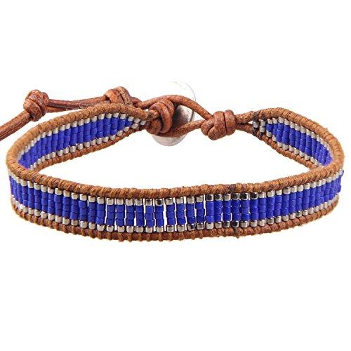 KELITCH Muschel Blau Perlen Armband aus Braunem Leder Wickel Armband Neu Herren Armreifen (Blau)
