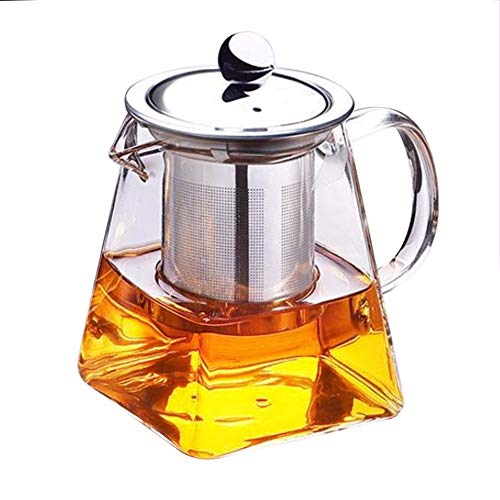 Cool Cook Clear High Borosilicate Glass Tea Pot with Removable 304 Stainless Steel Infuser, Heat Resistant Loose Leaf Teapot,Stovetop Safe, 550 ml