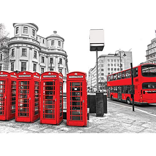 Vlies Fototapete PREMIUM PLUS Wand Foto Tapete Wand Bild Vliestapete - London Bus Telefonzelle - no. 1296, Größe:416x254cm Vlies