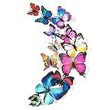 Zhen+ zhen 12pcs 3D Schmetterlinge Wandaufkleber Wand/Glas-Aufkleber-Tapete-Sticker-Abziehbild-Fenster Dekor, Haus-Deko Wandtapete Wandtattoos für Schlafzimmer Kinderzimmer Babyzimmer