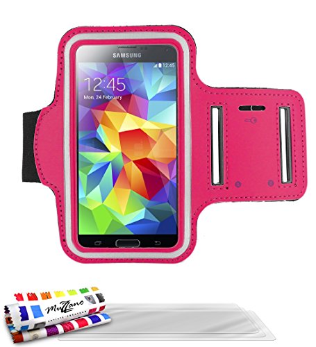 MUZZANO F2502029 - Funda con Brazalete para Samsung Galaxy S4 Advance (Incluye 3 Protectores de Pantalla), Color Rosa