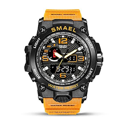 SMAELBand Männer Military Watch 50m wasserdichte Armbanduhr LED Quarzuhr Sportuhr Männliche Sportuhr Men S Shock,ORANGE