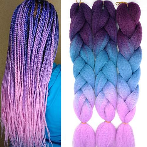 60cm Braids Kunsthaar Ombre Jumbo Braiding Hair Haarverlängerung Haar Synthetik Flechten Crochet Haarteile 3PCS 100g/Bündel (A-Lila&See Blau&Helles Lila)