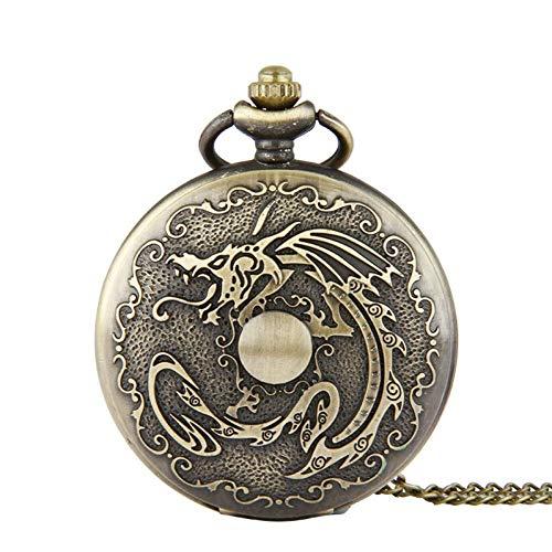 J-Love Nuevo Bronce Vintage Retro Steampunk Skeleton Designer Dragon Reloj Bolsillo Reloj Cadena