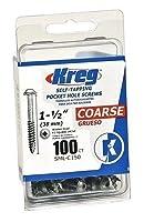 Kreg ポケットホールスクリュー 1インチ Thck No.8x1-1/2インチ ワッシャーヘッド #2 正方形 100個