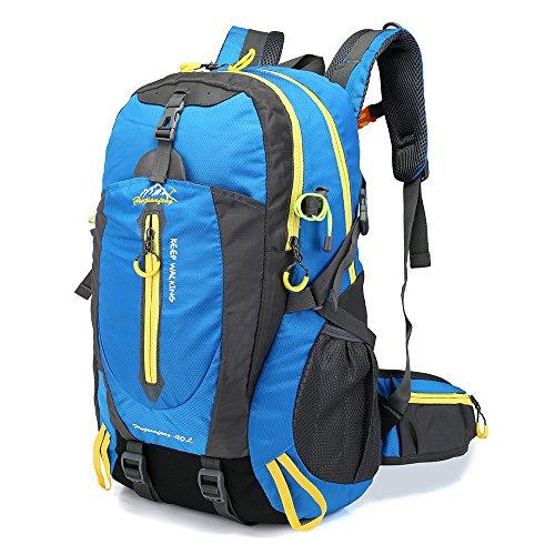Lixada 40L Resistente al Agua Mochila, Portátil Mochila Trekking, Laptop Daypack, Durable Impermeable, para Escalada, Viajes, Actividades al Aire Libre (Azul)