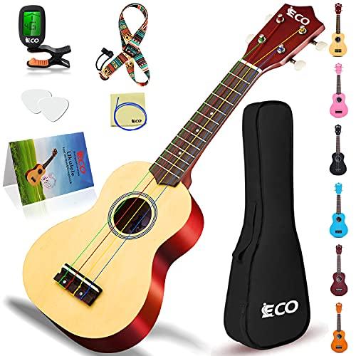 Kit para principiantes de ukelele soprano para niños y principiantes, ukelele de 21 pulgadas con cancionero, estuche, correa, afinador, cuerdas y púas