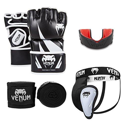 Venum Challenger V.04 MMA Set, Schwarz, Boxhandschuhe Medium + Tiefschutz M