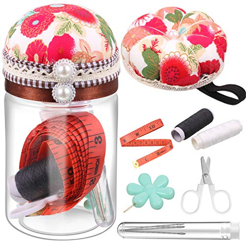 2 Pieces Pin Cushions Set, Include Wrist Pin Cushions Floral Sewing Pincushion and Printed Cloth Pincushion with Sewing Tools, Japanese Style Floral Pincushion for DIY Craft Hand Sewing