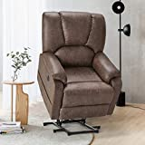Esirght Electric Power Lift Recliner Chair Sofa with Massage and Heat for Elderly, Faux Leather Recliner Chair with Side Pockets & USB Port, Nut Brown