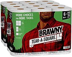 Brawny Tear-A-Square Paper Towels, 12 = 24 Regular Rolls, 3 Sheet Size Options, Quarter Size Sheets, 12 Count, 12 Count...