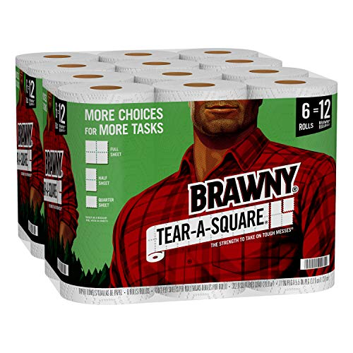 Brawny Tear-A-Square Paper Towels, 12 Double Rolls = 24...
