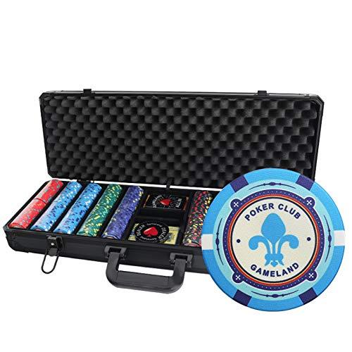 500 Fichas de Texas Holdem Poker con un Gran Estuche de Aluminio Fichas Numeradas 12g, 2 Barajas de Cartas Profesionales de Plástico, Botones