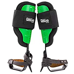 "Steel leg iron construction with rust proof finish Adjustable high impact plastic molded cuff with integrated padding 4"" wide upper calf strap provides maximum security during climbing 350 lbs. weight capacity with gear Meets ASTM F887 standard"