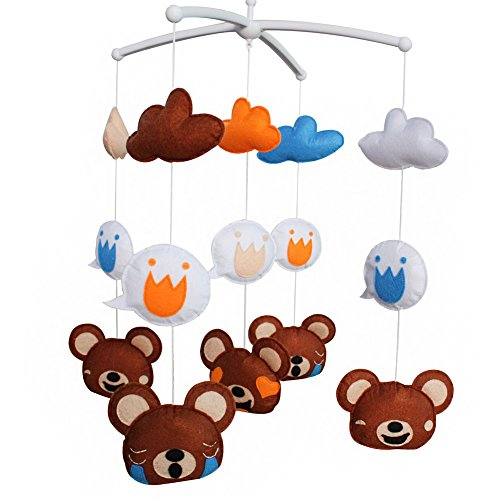 [Animal Friends-Bears] Jouet de bébé suspendu, mobile musical, décor coloré