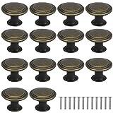 AvoDovA 16PCS Bronce Vintage Pomo de Armario Redondo, 29MM Retro Tirador para Cajón, Pomos y Tiradores de Muebles, Pomos Tiradores de Muebles, Armarios de Cocina,Cajones, Pomos para Puertas