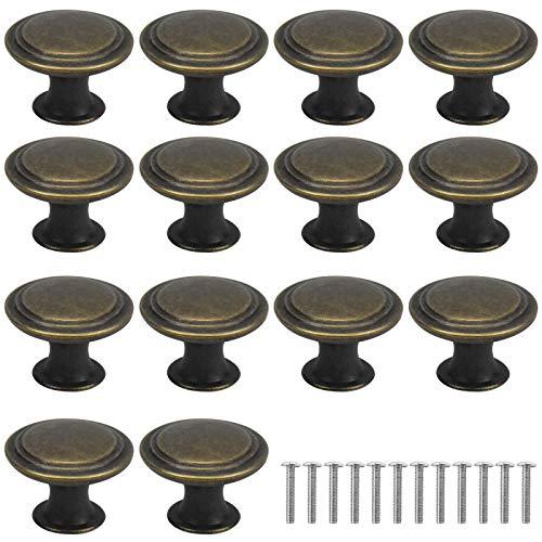 AvoDovA 16PCS Bronzo Vintage Pomelli per Porta, 29MM Retro Pomolo per Mobile, Pomelli per Mobili, Maniglia per Armadietto, Manopole per Mobili da Cucina, Shabby Pomelli per Cassetti, Armadio Cassetto