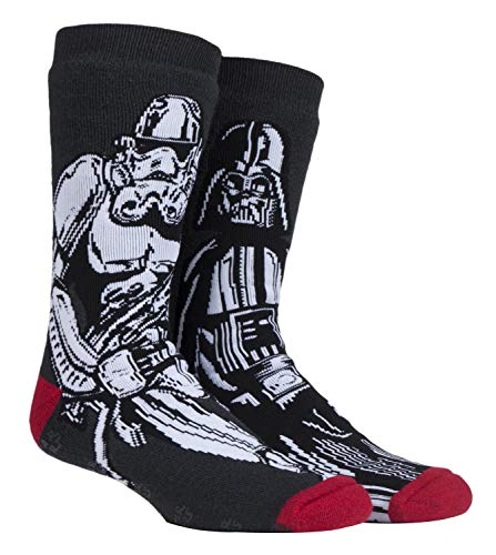 HEAT HOLDERS - Hombre Star Wars invierno calientes gruesos termicos calcetines antideslizantes (39/45, Darth Vader/Storm Trooper)
