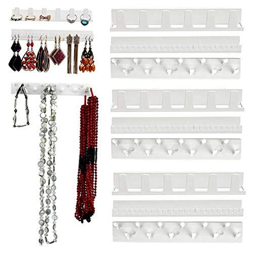 LIMEOW Halsketten Hakenleisten Wandregale Schmuckaufbewahrung Ohrringhalter Haken Wandhaken für Halsketten Schmuck Selbstklebende Haken 9 Stück für Schmuck Halskette Ring und Ohrring Weiß(15x2.5cm)