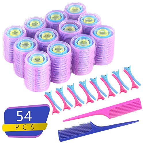 Self Grip Hair Rollers Set - Reastar 54PCS Hairdressing Curlers Self Holding Rollers in 3 Sizes with Duckbill Clips and Combs - for Women, Men and Kids (Ø36 mm, 25 mm, 15mm)