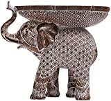 Lescafita African Decor Art, African Elephant Loxodonta Figurines with African Tribal Totem, African Animal Elephant Decorative Sculptures, African Art Holder Statues for Home and Table Decor