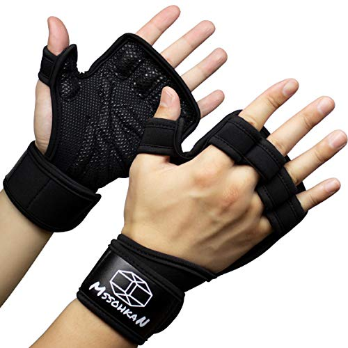 MSSOHKAN Gym Gloves Weight Lifting Gloves Exercise Gloves for Men & Women. Fitness Gloves with Full Palm Silicone Padding and Extended Wrist Wraps.Workout Gloves Pull-up、Cross Training.(Pair) (M)