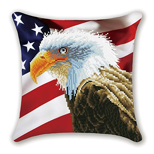 DIY Handwork Store 5D Diamond Painting Cushion Cover Throwing Pillow Case Partial Round Drills for Adults DIY Mosaic Eagle American Flag Cross Stitch Handmade Embroidery(17.72''x 17.72'')