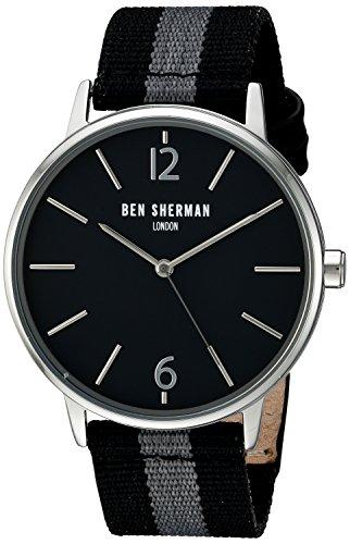 para Hombre Ben Sherman Reloj Infantil de Cuarzo con Esfera analógica y Dos de Color Plateado y Dorado Correa de Nailon WB044B