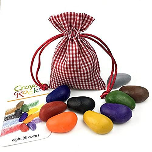 Crayon Rocks 8 Colors in a Red Gingham Bag