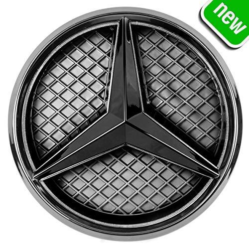 JetStyle LED Emblema 2011-2018, Negro Rejilla de Radiador Logotipo, Logo Automotriz Iluminado, Aros Resplandecientes, Auto Luces Diurnas Blanco – Abrillantador de Conducción