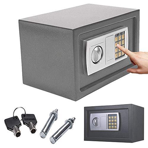 8.5L Safe Digitaler Elektronischer Tresor Sicherheitskasten Feuerfester und wasserdichter Sicherheitsschrank mit PIN-Code und Schlüssel Wandtresor Für Schmuck Bargeld 31x20x20cm (Grau)