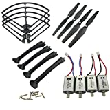 Upgraded Spare Parts for Syma X8C X8G X8HW RC Mini Quadcopter Toy Motor Main Blade Propellers Propeller Protectors Blades Frame Landing Skids with Screws Set (Black)