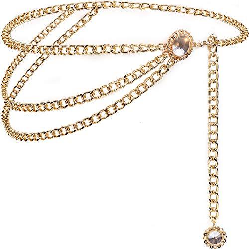 Suyi Cinturones De Cadena Dorados para Mujer Cinturón De Cadena De Cintura Multicapa Cuerpo Vientre Cadena 90cm Cristal Gold